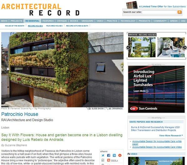 Architectural Record's 2013 picks for its annual Record Houses issue includes a design in Portugal planted with rosemary, lavender and other low-water flora on the exterior.