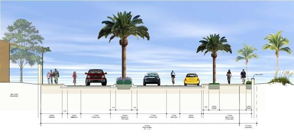 The repaired section of hurricane-damaged State Road A1A would be left with single lanes in each direction, a center turn lane, a bicycle lane in each direction and parallel parking on the east side.