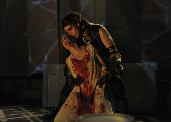 "Chiron (Greg Joubert) has his wicked way with Lavinia (Kelly Kilgore) in ""Titus Andronicus."""