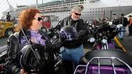 "As 20 Harley-Davidsons growled across the asphalt at the Maryland Cruise terminal Monday morning, ""Easy Rider"" met ""The Love Boat."""