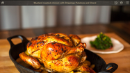 Mustard-roasted chicken with Drippings Potatoes and Chard