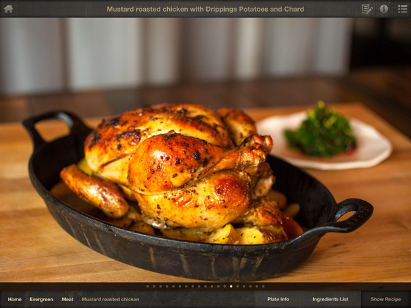 """Seattle chef John Sundstroms """"Mustard Roasted Chicken with Drippings Potatoes and Chard"""" from his new cookbook and iPad app Lark: Cooking against the Grain (Community Supported Cookbooks, $50 for the book; $9.99 for the app)"""