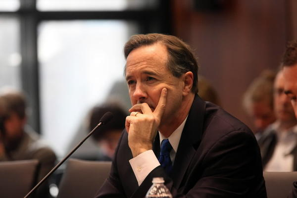 CTA President Forrest Claypool answers questions at an Illinois House Mass Transit Committee hearing Monday. (Nancy Stone/Chicago Tribune)