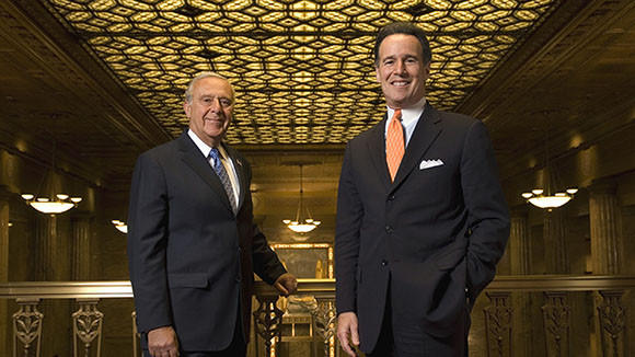Larry Richman, right, CEO of PrivateBancorp, in 2008 with then Chairman Larry Mandell.