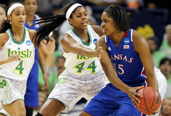 Notre Dame's Ariel Braker (44) guards Kansas' Chelsea Gardner during the first half Sunday in Norfolk, Va.