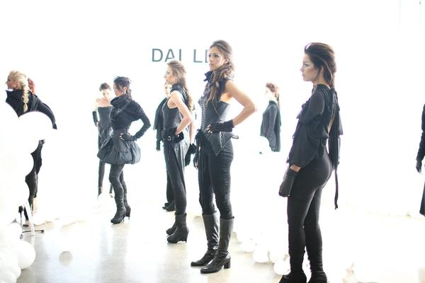 Models prepare for the Dai Le show during Fashion Week in Los Angeles.