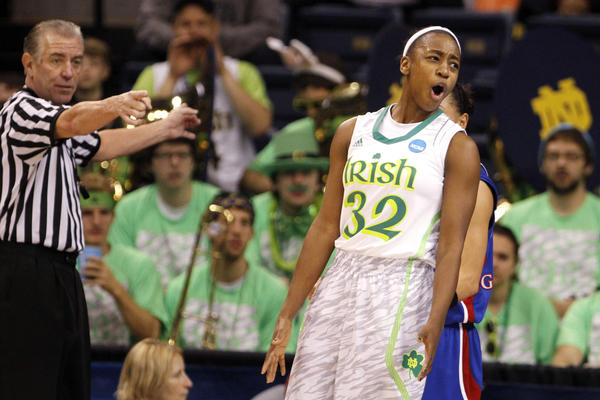 Notre Dame's Jewell Loyd (32) reacts after being called for a foul during the first half Sunday in Norfolk, Va.