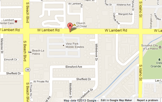 Map shows area where a woman died in a La Habra mobile home fire.
