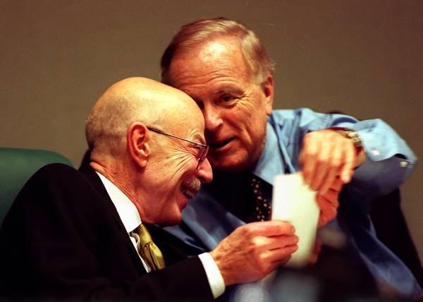 "Julian Burke, left, with then-Mayor Richard Riordan at an MTA meeting. Burke ""restored confidence toward the MTA in Congress,"" Riordan said."