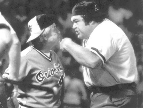 Oriole manager Earl Weaver had a difference of opinion with home plate umpire Ken Kaiser early in the second game of a double header. Weaver was irate at ball and strike calls by the umpire, who took exception to the manager's questioning.