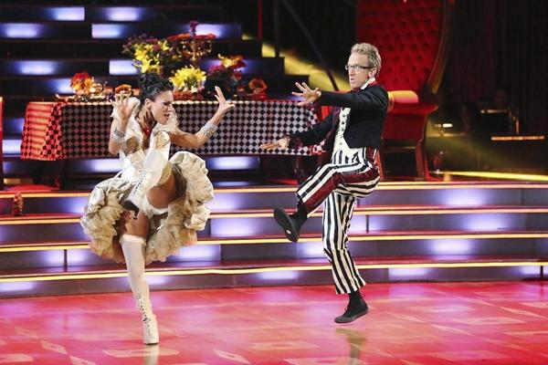 "Sharna Burgess tries to evade Andy Dick's grasp on the latest episode of ""Dancing With the Stars."""