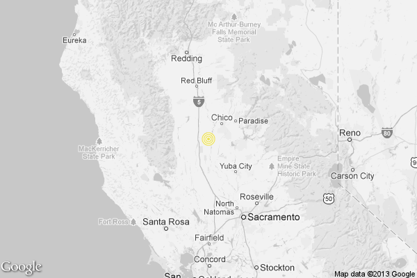 A map showing the location of the epicenter of Monday evening's quake near Willows, California.