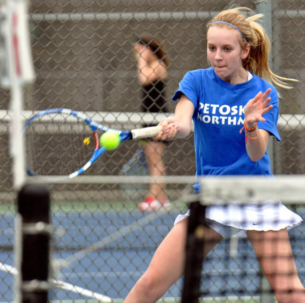 Petoskey junior Kelsey Nourala is among several key returners to the lineup this season for the Northmen girls' tennis team, which this season moves up to Division II.