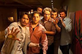 "A shot from star-laden comedy ""This Is The End,"" with James Franco and Seth Rogen"