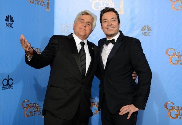 Jay Leno and Jimmy Fallon tried to have some fun with their late night drama.