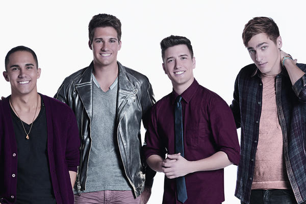 Big Time Rush members Carlos Pena (from left), Logan Henderson, James Maslow and Kendall Schmidt will perform at Universal Studios on June 8.
