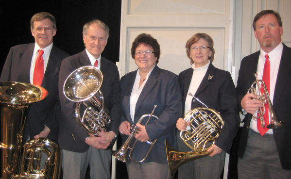 "Performers for the Great Lakes Chamber Orchestra's upcoming Sunday Series performance in Charlevoix will include (from left) Carl Hawkins, Ed Bahr, Ev Wujcik, Beverly Isenbarger and David Pugh. The ""Brass-mania"" concert begins at 4 p.m. Sunday, April 14, at the First Congregational Church of Charlevoix. Orchestra members will be joined by the Castle Brass Quintet and Carl Hawkins in a program featuring duos, trios and quintets."
