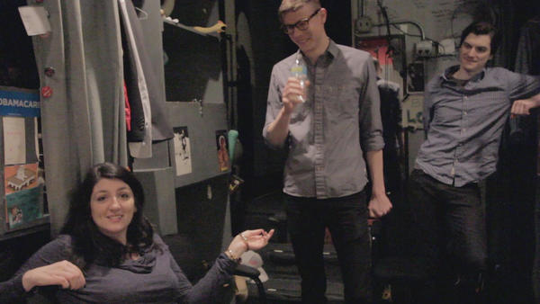 "Backstage at The Second City's 101st mainstage revue, ""Let Them Eat Chaos."" Pictured: Katie Rich, Ross Bryant and Steve Waltien"