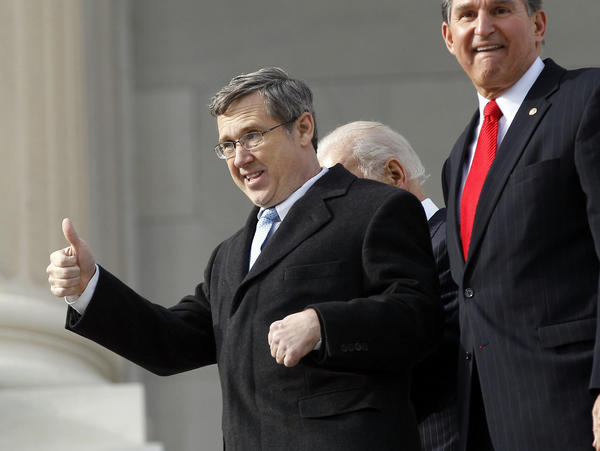 Sen. Mark Kirk on the steps of the U.S. Capitol as he returns to work in January, a year after suffering a stroke.