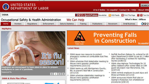 A screen grab of the Occupational Safety & Health Administration website.