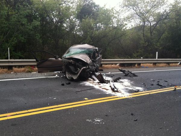 One of the vehicles involved in Tuesday morning's double fatal crash on Laguna Canyon Road.