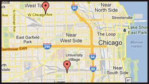 Map of location of robberies on the city's Near West Sides.