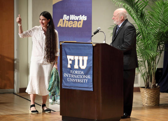 (CH) fl-el-cuban-blogger-Yoani-Sanchez-FIU-CHa--Cuban blogger Yoani Sanchez appears at the Herbert and Nicole Wertheim Performing Arts Center, in FIU, in Miami, next to Jorge Duany, director o