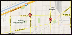 Map of locations where a man has been robbing small retail stores on the city's Southwest Side.