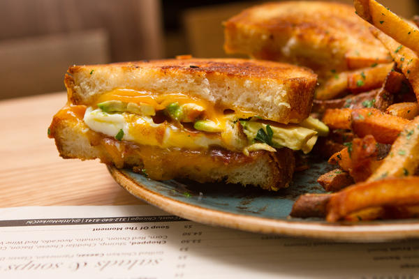 Little Market Brasserie ups the ante on grilled cheese with the addition of bacon, avocado and Sriracha sauce.