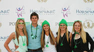 "Kaitlyn Timblin, left, Riley Newsome, Megan MacPherson, Taylor Burns and Hugh Dollard attend the inaugural Horseware Ireland St. Patrick's Day ""Build a New School"" bash."