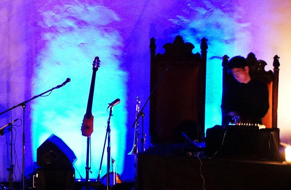 Jason Chung, who records as Nosaj Thing, performs at the Masonic Hall at Hollywood Forever Cemetery. The producer opened for the group Rhye