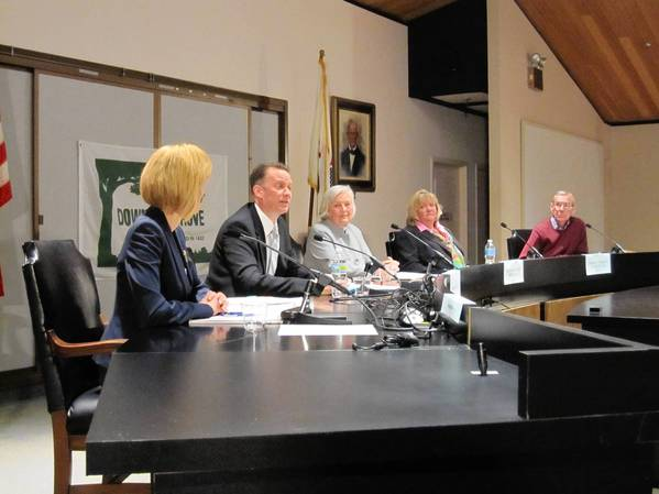 District 99 school board candidates (L to R) Deborah Boyle, Rick Pavinato, Julia Beckman, Terry Pavesich and Martin Gorski participate in a League of Women Voters forum in March. Gorski later dropped out of the race.