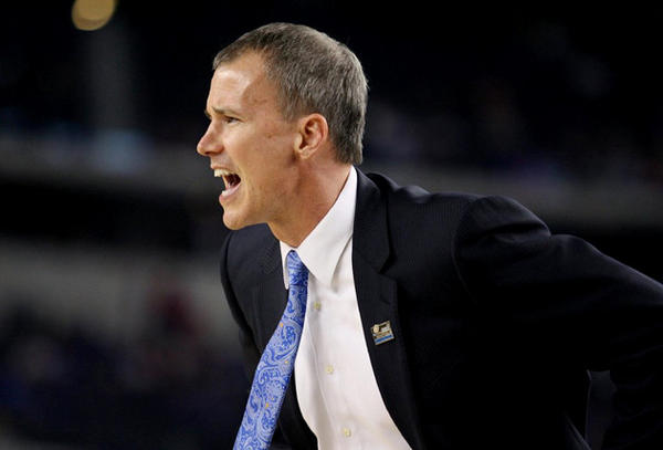 Coach Andy Enfield works the sideline in the Sweet 16 game against Florida.