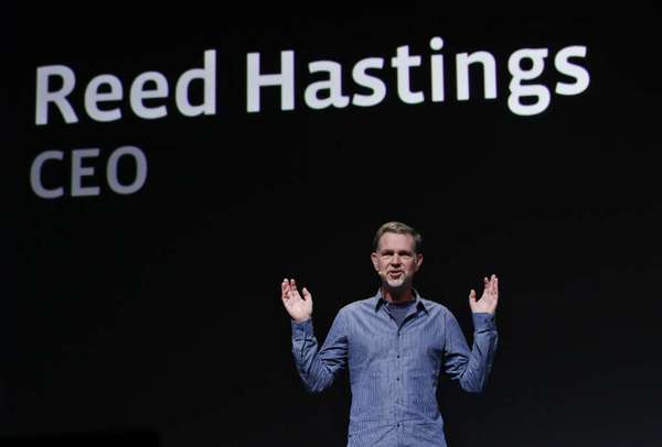 Netflix Chief Executive Reed Hastings speaks at the Facebook f8 conference in San Francisco in 2011.