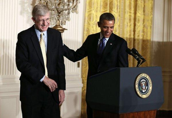 Dr. Francis Collins, director of the National Institutes of Health, helps President Obama introduce the administration's BRAIN Initiative at the White House.