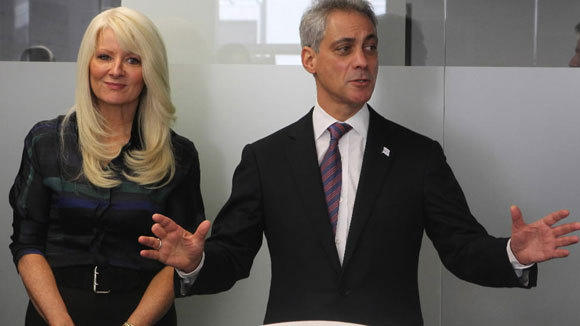 Mary Tolan, founder and CEO of Accretive Health, and Mayor Rahm Emanuel tour the company's offices on LaSalle Street March 2012.