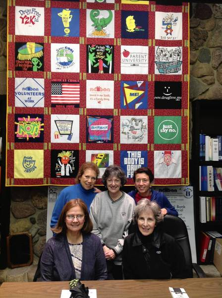 Board members of Northbrook Citizens for Drug and Alcohol Awareness organization pose for a group photo. Marcia Doniger, right, sits with Amy Sherwood. Standing, from left, are Diana Gotkin, Judy Kolb, Ellen Roth.