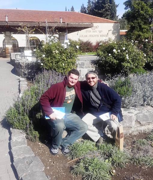 From left,-UM graduate student Andrew Blitman and campus Rabbi Baruch Plotkin in front of Golan Heights Winery.