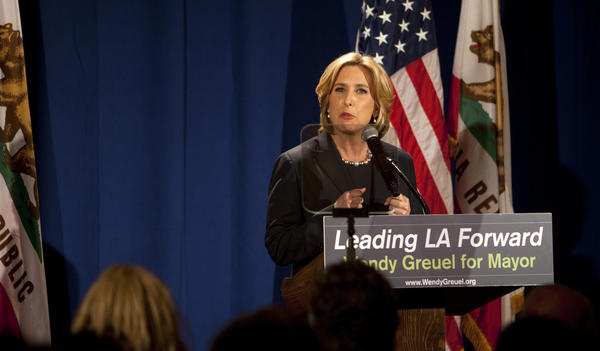 "City Controller and mayoral candidate Wendy Greuel framed herself as the ""business-labor"" candidate during a speech at UCLA."