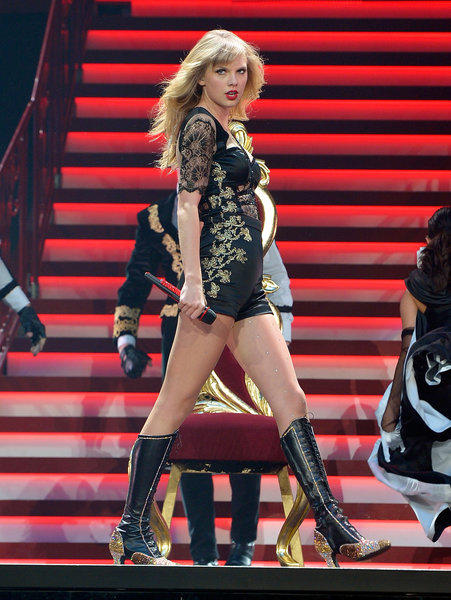 Taylor Swift wears boots to perform at the Prudential Center in Newark, N.J. last week, but she is also a fan of Keds and has a new collection in collaboration with the sneaker firm.