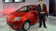 Mitsubishi unveiled its 2014 Mirage at the 2013 New York Auto Show. For such a tiny car -- its wheelbase is 96.5 inches -- it got a lot of notice.