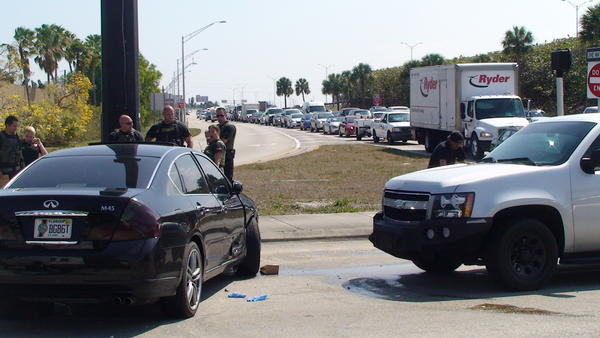 Traffic was backed up on an exit ramp from northbound Interstate-95 while Broward Sheriffs deputies chased an attempted burglary suspect whose black Infiniti collided with a sheriffs unmarked SUV on eastbound Commercial Blvd. in Fort Lauderdale