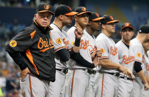 Orioles manager Buck Showalter (left) and players line up while being introduced at Opening Day at Tropicana Field.