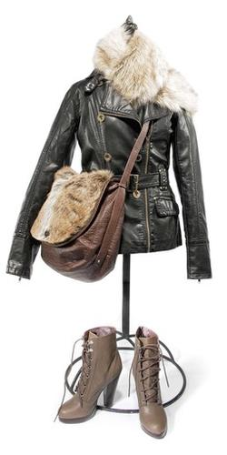 """<b>COAT: </b>Only the price tag will tell that it's not real leather. Say What? for $58, Kohl's, <a href=""""http://kohls.com"""">kohls.com</a><br> <br> <b>COLLAR: </b>Fur-real! Even up close, they won't know this neckwear is artificial. H&M,  $14.95, <a href=""""http://hm.com"""">hm.com</a> for store locations<br> <br> <b>BAG: </b>Two impostors in one accessory, and they both pass for real. Ecote, $68, Urban Outfitters, <a href=""""http://urbanoutfitters.com"""">urbanoutfitters.com</a><br> <br> <b>BOOTS: </b>Fashion-forward lace-ups don't have to strangle your budget. H&M, $59.95, <a href=""""http://hm.com"""">hm.com</a>"""