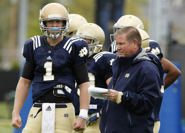 Where will former Notre Dame quarterback Gunner Kiel (1) end up?