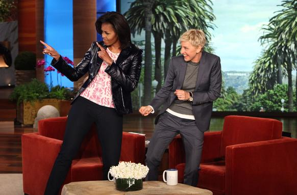 "Ellen DeGeneres and Michelle Obama on ""The Ellen DeGeneres Show"" on Feb. 2, 2012."