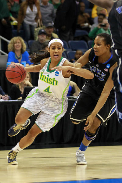 Notre Dame's Skylar Diggins dribbles the ball as Duke Blue's Richa Jackson defends during the first half.