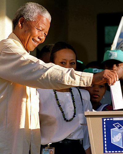 Mandela casts his ballot April 27, 1994, during South Africa's first democratic election, making the first time he -- or any black person in the country -- had been able to vote.