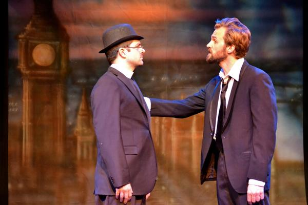 "Father Brown (Blake Walker), left, seeks to reform master thief Flambeau (Brandon Parrish) in ""The Innocence of Father Brown."""