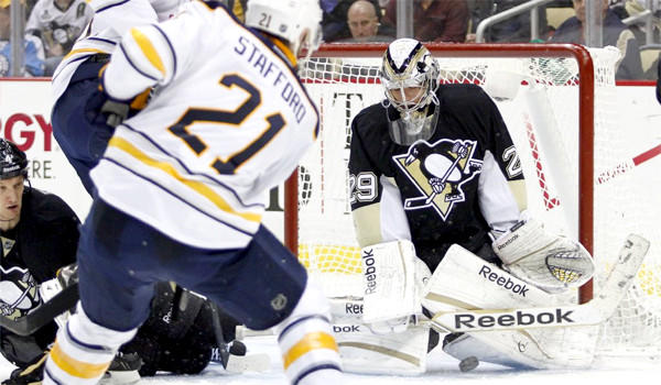 Marc-Andre Fleury makes a save on Drew Stafford during the Buffalo Sabres' 4-1 victory, which ended the Pittsburgh Penguins' winning streak at 15 games.